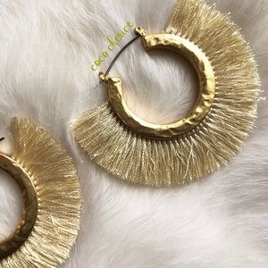 Jewelry - SOLD Gold Fringe Hoop Earrings